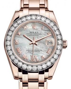 Rolex Pearlmaster 34 Rose Gold White Mother of Pearl Roman & Diamond VI Dial & Diamond Bezel Pearlmaster Bracelet 81285 - BRAND NEW