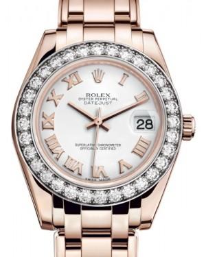 Rolex Pearlmaster 34 Rose Gold White Roman Dial & Diamond Bezel Pearlmaster Bracelet 81285 - BRAND NEW