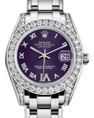Rolex Pearlmaster 34 White Gold Purple Roman & Diamond VI Dial & Diamond Set Case & Bezel Pearlmaster Bracelet 81159 - BRAND NEW