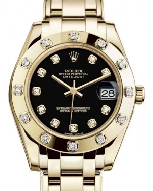 Rolex Pearlmaster 34 Yellow Gold Black Diamond Dial & Diamond Set Bezel Pearlmaster Bracelet 81318 - BRAND NEW