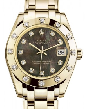Rolex Pearlmaster 34 Yellow Gold Black Mother of Pearl Diamond Dial & Diamond Set Bezel Pearlmaster Bracelet 81318 - BRAND NEW
