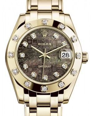 Rolex Pearlmaster 34 Yellow Gold Black Mother of Pearl Jubilee Diamond Dial & Diamond Set Bezel Pearlmaster Bracelet 81318 - BRAND NEW