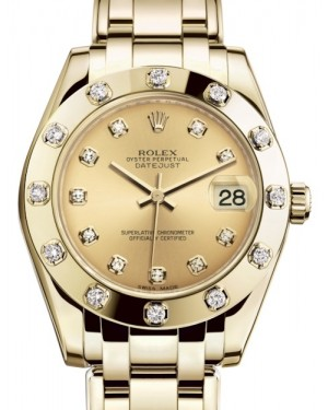 Rolex Pearlmaster 34 Yellow Gold Champagne Diamond Dial & Diamond Set Bezel Pearlmaster Bracelet 81318 - BRAND NEW