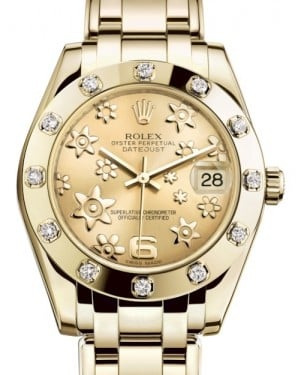 Rolex Pearlmaster 34 Yellow Gold Champagne Floral Motif Index Dial & Diamond Set Bezel Pearlmaster Bracelet 81318 - BRAND NEW