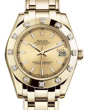 Rolex Pearlmaster 34 Yellow Gold Champagne Index Dial & Diamond Set Bezel Pearlmaster Bracelet 81318 - BRAND NEW