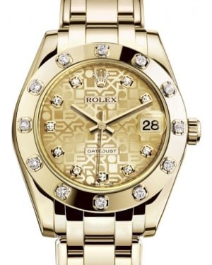 Rolex Pearlmaster 34 Yellow Gold Champagne Jubilee Diamond Dial & Diamond Set Bezel Pearlmaster Bracelet 81318 - BRAND NEW