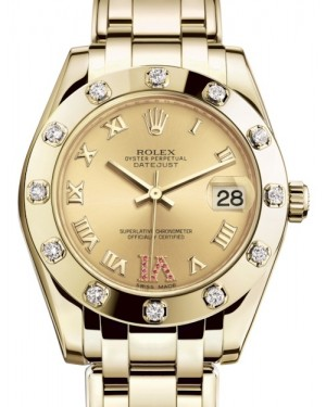 Rolex Pearlmaster 34 Yellow Gold Champagne Roman & Ruby VI Dial & Diamond Set Bezel Pearlmaster Bracelet 81318 - BRAND NEW