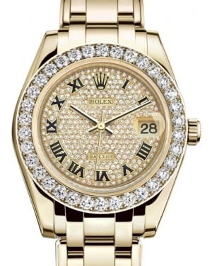 Rolex Pearlmaster 34 Yellow Gold Diamond Paved Roman Dial & Diamond Bezel Pearlmaster Bracelet 81298 - BRAND NEW