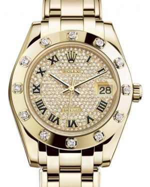 Rolex Pearlmaster 34 Yellow Gold Diamond Paved Roman Dial & Diamond Set Bezel Pearlmaster Bracelet 81318 - BRAND NEW