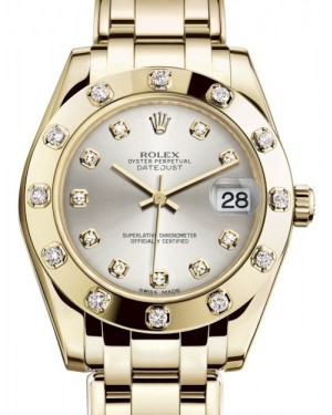 Rolex Pearlmaster 34 Yellow Gold Silver Diamond Dial & Diamond Set Bezel Pearlmaster Bracelet 81318 - BRAND NEW