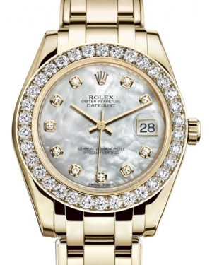 Rolex Pearlmaster 34 Yellow Gold White Mother of Pearl Diamond Dial & Diamond Bezel Pearlmaster Bracelet 81298 - BRAND NEW