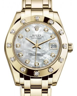 Rolex Pearlmaster 34 Yellow Gold White Mother of Pearl Diamond Dial & Diamond Set Bezel Pearlmaster Bracelet 81318 - BRAND NEW