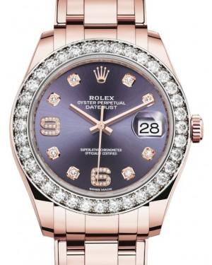 Rolex Pearlmaster 39 Rose Gold Aubergine Diamond Dial & Diamond Bezel Pearlmaster Bracelet 86285 - BRAND NEW