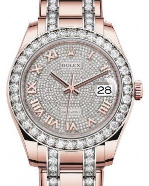 Rolex Pearlmaster 39 Rose Gold Diamond Paved Roman Dial & Diamond Bezel Diamond Set Pearlmaster Bracelet 86285 - BRAND NEW