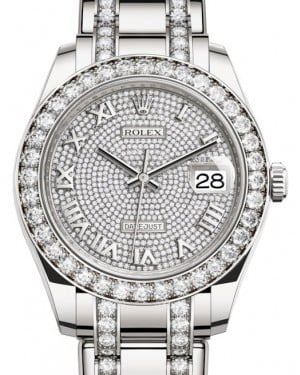 Rolex Pearlmaster 39 White Gold Diamond Paved Roman Dial & Diamond Bezel Diamond Set Pearlmaster Bracelet 86289 - BRAND NEW