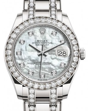 Rolex Pearlmaster 39 White Gold White Mother of Pearl Diamond Dial & Diamond Bezel Diamond Set Pearlmaster Bracelet 86289 - BRAND NEW
