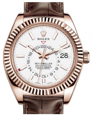 Rolex Sky-Dweller Rose Gold White Index Dial Fluted Bezel Leather Strap 326135 - BRAND NEW