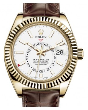 Rolex Sky-Dweller Yellow Gold White Index Dial Fluted Bezel Leather Strap 326138 - BRAND NEW
