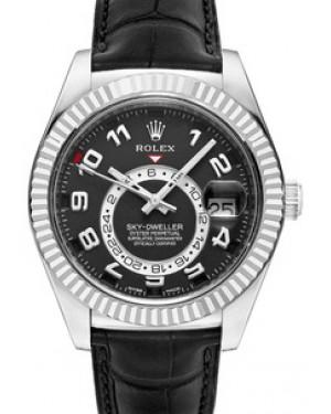 Rolex Sky-Dweller 326139 Men's 42mm Black Arabic 18k White Gold Black Leather - BRAND NEW