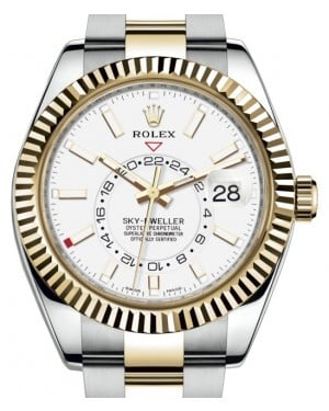 Rolex Sky-Dweller Yellow Gold/Steel White Index Dial Fluted Bezel Oyster Bracelet 326933 - BRAND NEW