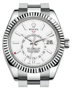 Rolex Sky-Dweller Stainless Steel White Index Dial Fluted White Gold Bezel Oyster Bracelet 326934 - BRAND NEW