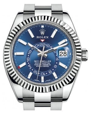 Rolex Sky-Dweller Stainless Steel Blue Index Dial Fluted White Gold Bezel Oyster Bracelet 326934 - BRAND NEW