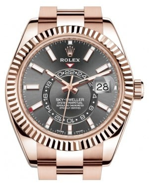Rolex Sky-Dweller Rose Gold Dark Rhodium Index Dial Fluted Bezel Oyster Bracelet 326935 - BRAND NEW