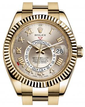 Rolex Sky-Dweller Calendar Yellow Gold 42mm Silver Roman Dial Gold Bracelet 326938 - BRAND NEW