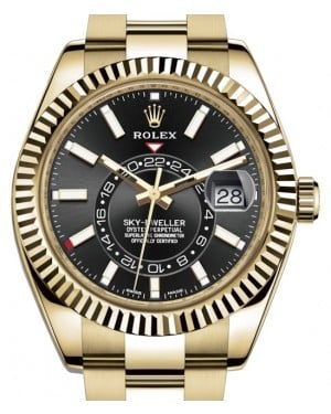 Rolex Sky-Dweller Yellow Gold Black Index Dial Fluted Bezel Oyster Bracelet 326938 - BRAND NEW
