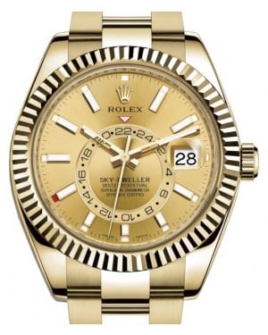 Rolex Sky-Dweller Yellow Gold Champagne Index Dial Fluted Bezel Oyster Bracelet 326938 - BRAND NEW