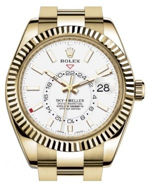 Rolex Sky-Dweller Yellow Gold White Index Dial Fluted Bezel Oyster Bracelet 326938 - BRAND NEW