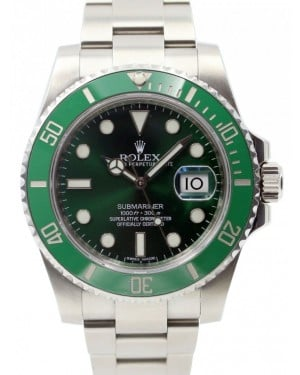 """Rolex Submariner Date """"Hulk"""" Stainless Steel Green Dial & Ceramic Bezel Steel Oyster Bracelet 116610LV - PRE-OWNED"""