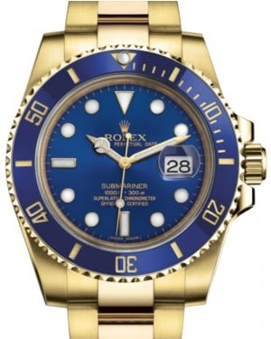 Rolex Submariner Date Yellow Gold Blue Dial & Ceramic Bezel Oyster Bracelet 116618LB - BRAND NEW