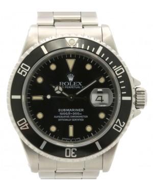 Rolex Submariner Date Stainless Steel Black Dial & Aluminum Bezel Oyster Bracelet Holes 16610 - PRE-OWNED