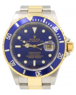 Rolex Submariner Date Yellow Gold/Steel Blue Dial & Aluminum Bezel Oyster Bracelet Gold-Through Clasp 16613 - PRE-OWNED