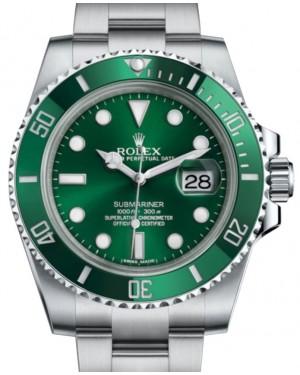 """Rolex Submariner Date """"Hulk"""" Stainless Steel Green Dial & Ceramic Bezel Oyster Bracelet 116610LV - BRAND NEW"""