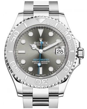 Rolex Yacht-Master 37 Stainless Steel Dark Rhodium Dial Platinum Bezel Oyster Bracelet 268622 - BRAND NEW