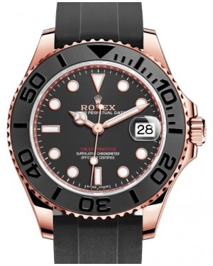 Rolex Yacht-Master 37 Rose Gold Black Dial Black Ceramic Bezel Rubber Oysterflex Strap 268655 - BRAND NEW