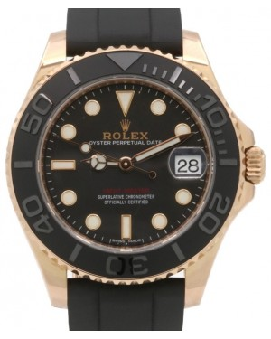 Rolex Yacht-Master 37 268655 Rose Gold Midsize Everose Ladies Black Ceramic Oysterflex 37mm - PRE-OWNED