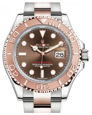 Rolex Yacht-Master 40 Everose Rose Gold/Steel Chocolate Brown Dial Gold Bezel Oyster Bracelet 126621 - BRAND NEW