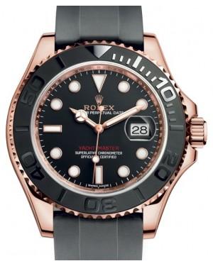 Rolex Yacht-Master 40 Rose Gold Everose 18k Black Dial Ceramic Bezel Oysterflex Rubber Bracelet 116655 - BRAND NEW