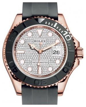 Rolex Yacht-Master 40 Rose Gold Diamond Pave Dial Ceramic Bezel Oysterflex Rubber Bracelet 116655 - BRAND NEW