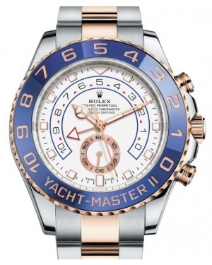 "Rolex Yacht-Master II Rose Gold/Steel White ""Mercedes Hands"" 44mm Dial Blue Ceramic Bezel 116681 - PRE-OWNED"