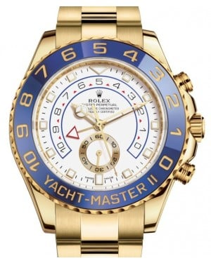 Rolex Yacht-Master II Yellow Gold White Dial Mercedes Hands Blue Ceramic Bezel 116688 - BRAND NEW