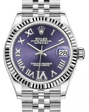 Rolex Datejust 31 White Gold/Steel Aubergine VI Diamonds Dial & Fluted Bezel Jubilee Bracelet 278274 - BRAND NEW