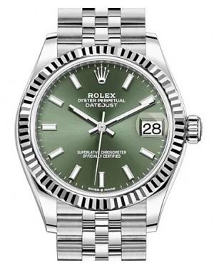 Rolex Datejust 31 White Gold/Steel Green Index Dial & Fluted Bezel Jubilee Bracelet 278274 - BRAND NEW