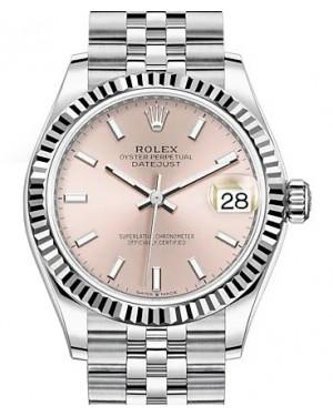 Rolex Datejust 31 White Gold/Steel Pink Index Dial & Fluted Bezel Jubilee Bracelet 278274 - BRAND NEW