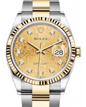 Rolex Datejust 36 Yellow Gold/Steel Champagne Jubilee Diamond Dial & Fluted Bezel Oyster Bracelet 126233 - BRAND NEW