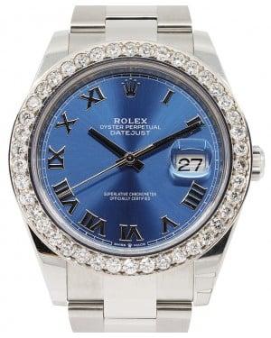Rolex Datejust 41 Stainless Steel Blue Roman Dial Diamond Bezel Oyster Bracelet 126300 - BRAND NEW