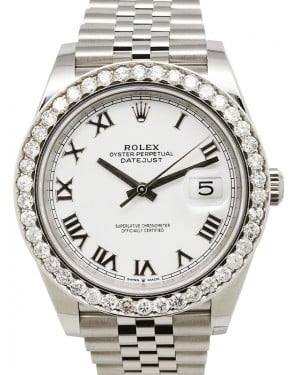 Rolex Datejust 41 Stainless Steel White Roman Dial Diamond Bezel Jubilee Bracelet 126300 - BRAND NEW